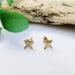 ☆☆Boucles d/'oreilles puces  étoiles en acier doré☆☆